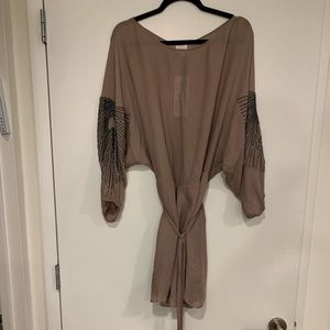 Parker tan dress with beaded accents M, New